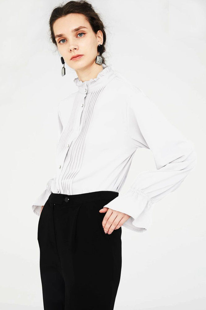 White Shirt  With Pleated Chest Plaque
