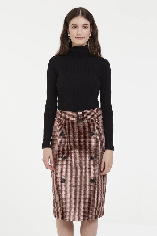 Load image into Gallery viewer, Tartan Midi A Line Skirt With Double Button Row