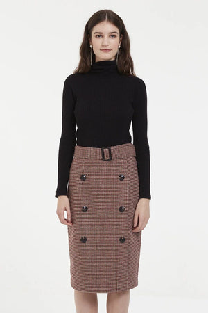 Tartan Midi A Line Skirt With Double Button Row