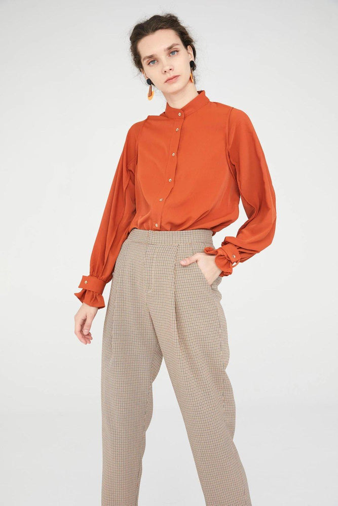 CLOTHING - Beige Tartan High Waisted Trousers With Pleats
