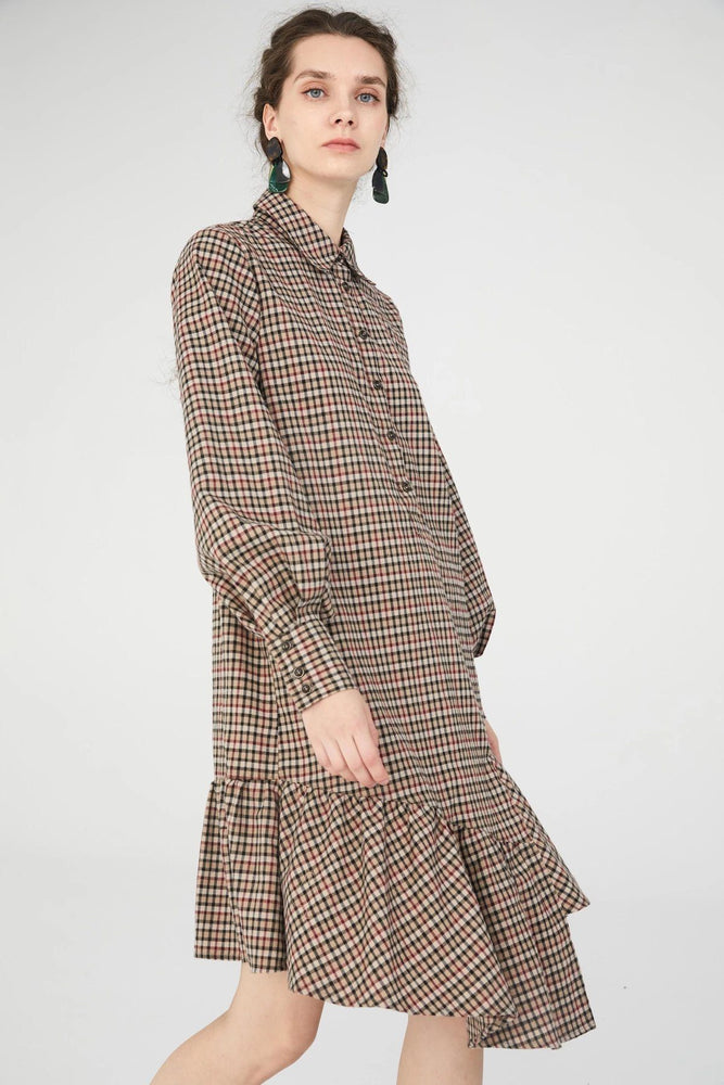 Load image into Gallery viewer, Brown Asymmetric Tartan Shirt Dress With Ruffle