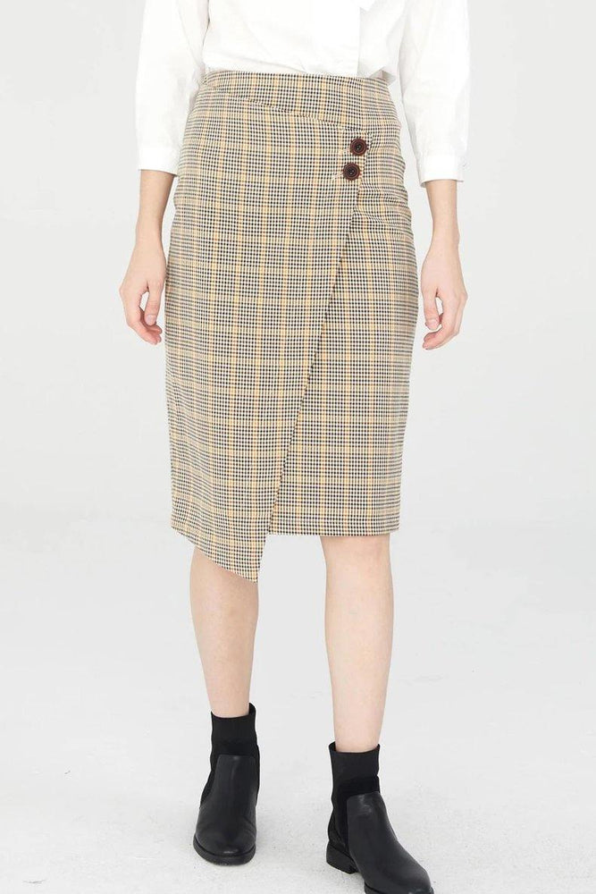 Beige Tartan Pencil Skirt With Wrap Detail