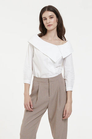 White Off The Shoulder Shirt With Asymmetric Collar