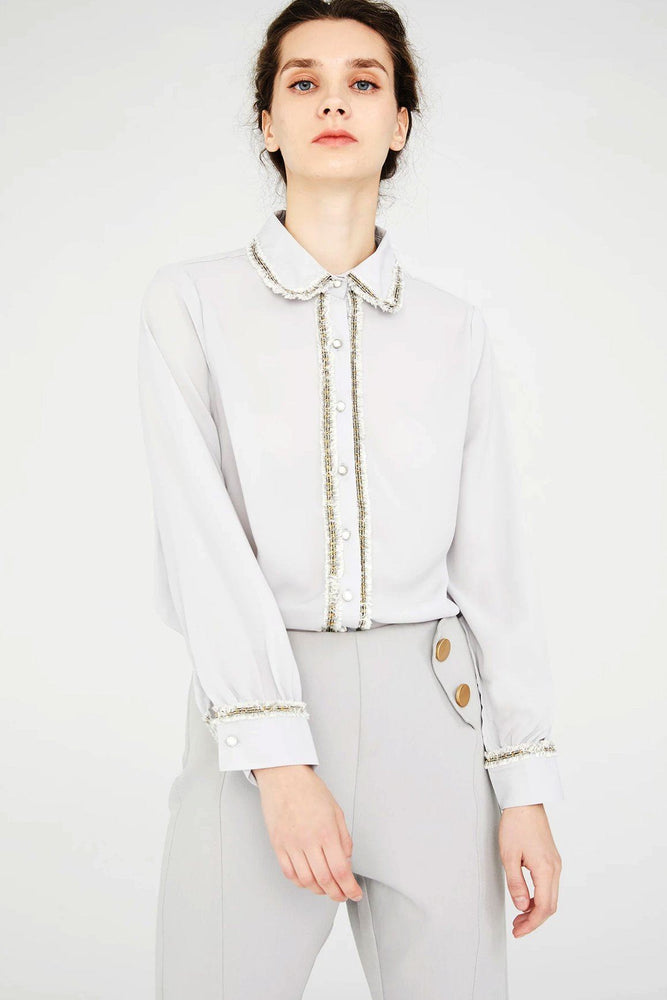 Grey Longsleeve Shirt With Embellished Collar