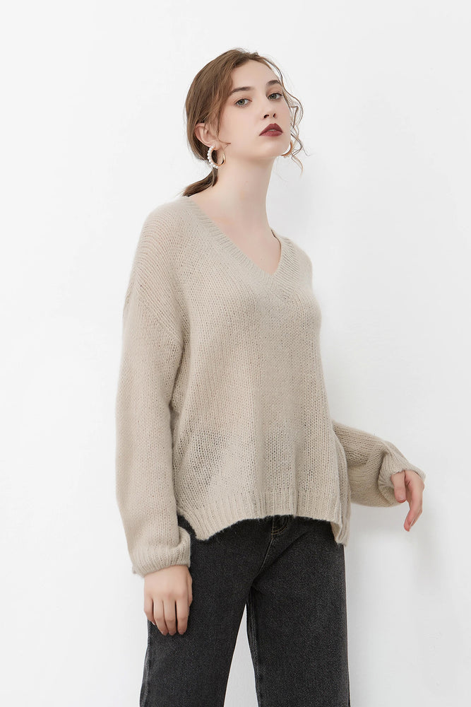Dark Beige Knit Jumper With Side Slits