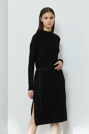 Rib Knit Belted Dress