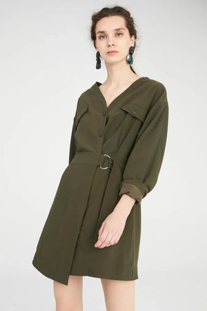 Load image into Gallery viewer, Khaki Green V-Neck Wrap Dress With Asymmetric Hem