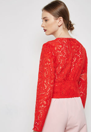 Scarlet Flame Lace Top