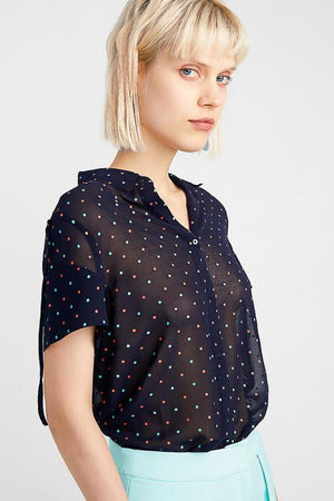 Multiple Color Dots Bow Tied Blouse