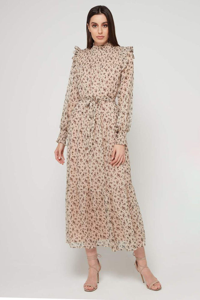 Load image into Gallery viewer, High Neck Floral Maxi Dress