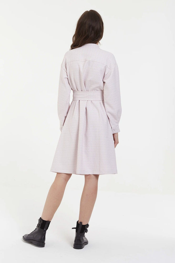 Load image into Gallery viewer, Pink Shirt Dress With Pleats
