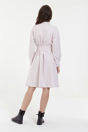 Pink Shirt Dress With Pleats
