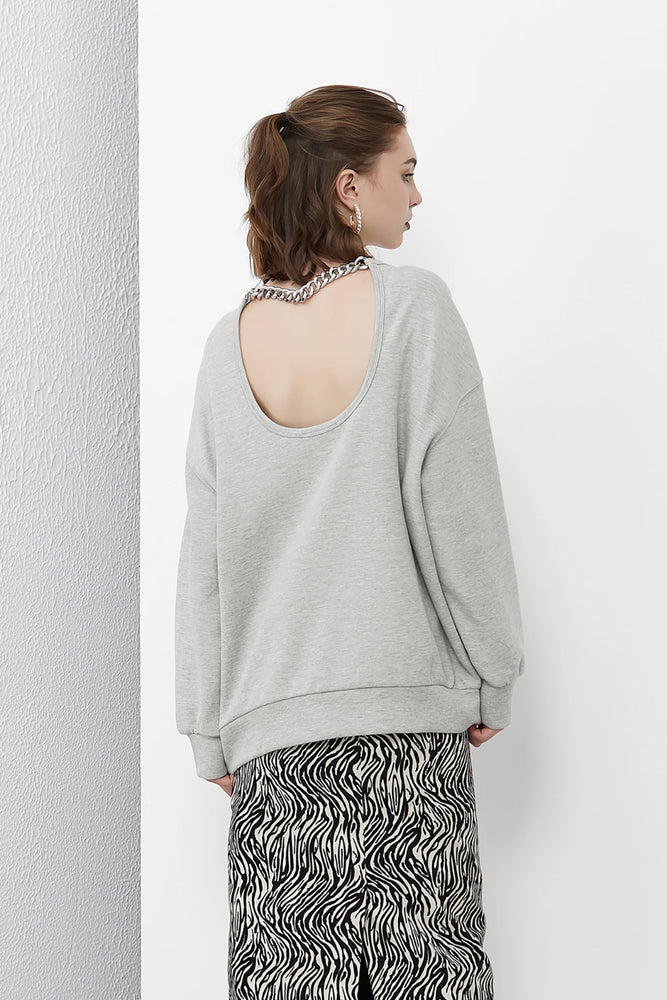 Load image into Gallery viewer, Open Back Chain Sweatshirt in LightGrey