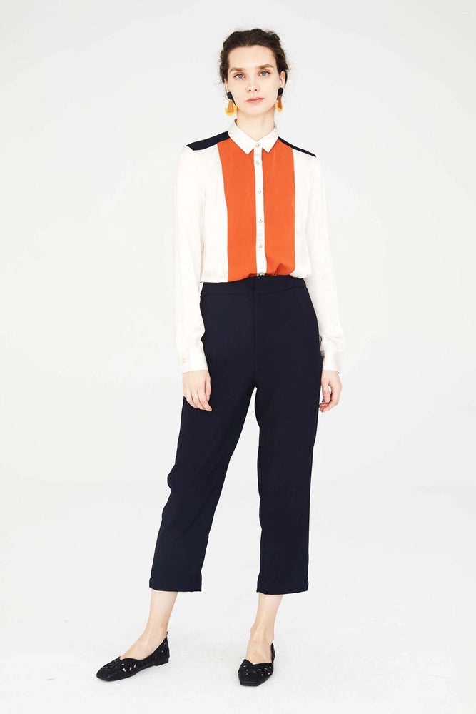 CLOTHING - Off-White Button Down Shirt With Orange Front Panels
