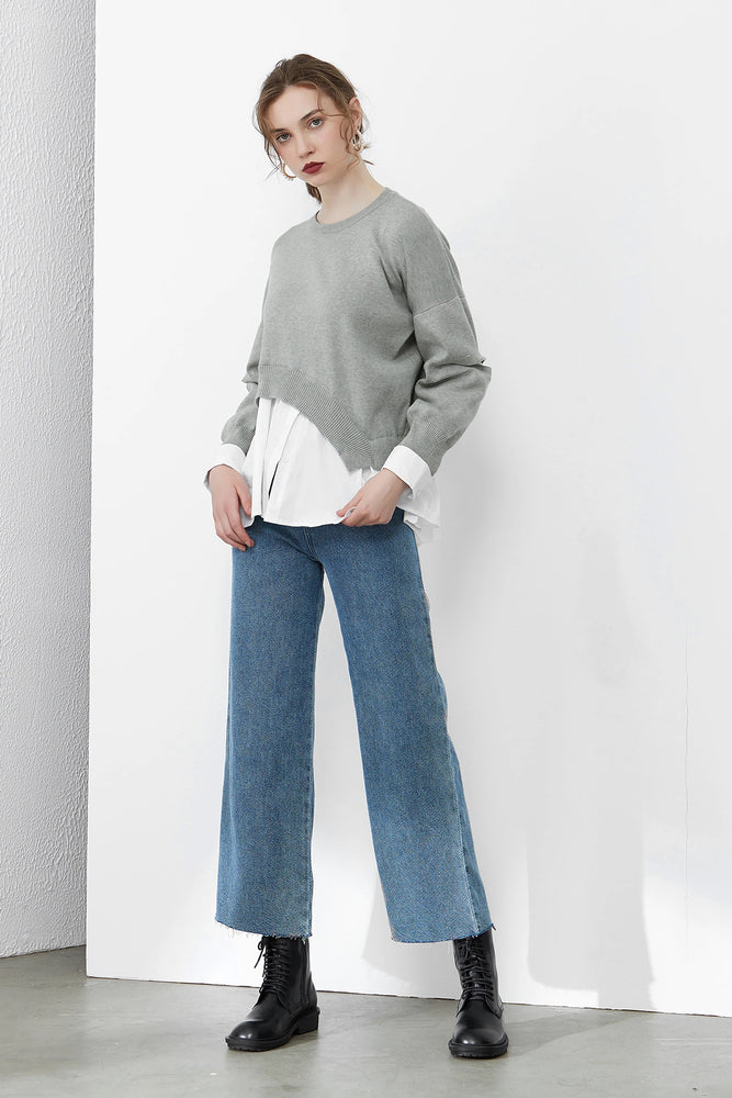 Load image into Gallery viewer, Grey Asymmetrical Cut Out Jumper
