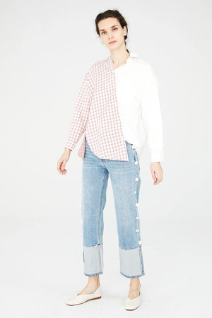 White Asymmetric Shirt With Pink Plaid Pattern