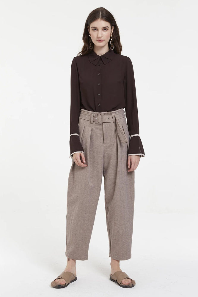 CLOTHING - Mocha High-Waisted Trousers With Buckled Belt