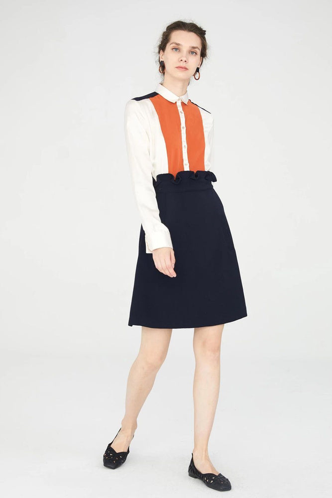 CLOTHING - White And Navy Blue Straight Shirt Dress