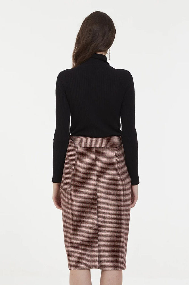 CLOTHING - Tartan Midi A Line Skirt With Double Button Row
