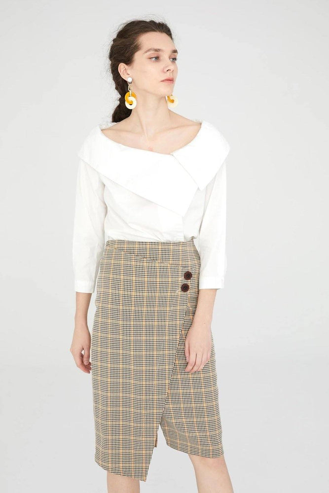 CLOTHING - Beige Tartan Pencil Skirt With Wrap Detail