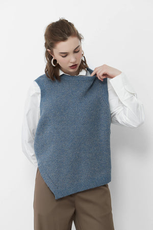 Load image into Gallery viewer, Blue Asymmetrical Vest