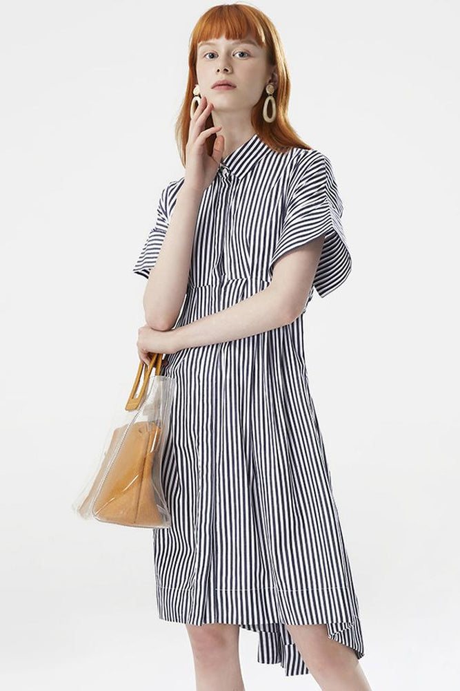 Asymmetric Striped Shirt Dress