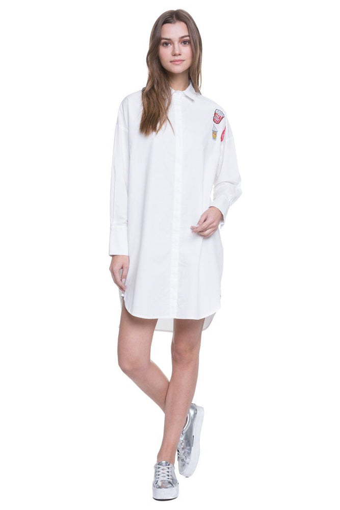 Oversized Shirt Dress With Patches