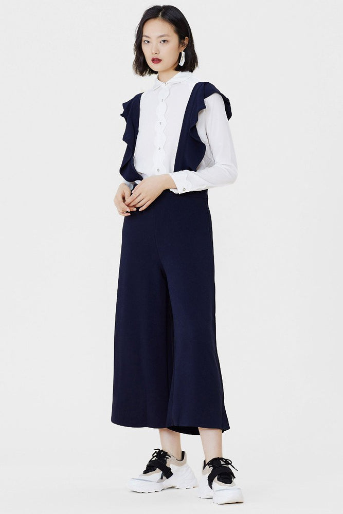CLOTHING - Navy Wide Leg Culottes Trousers With Ruffle Suspenders