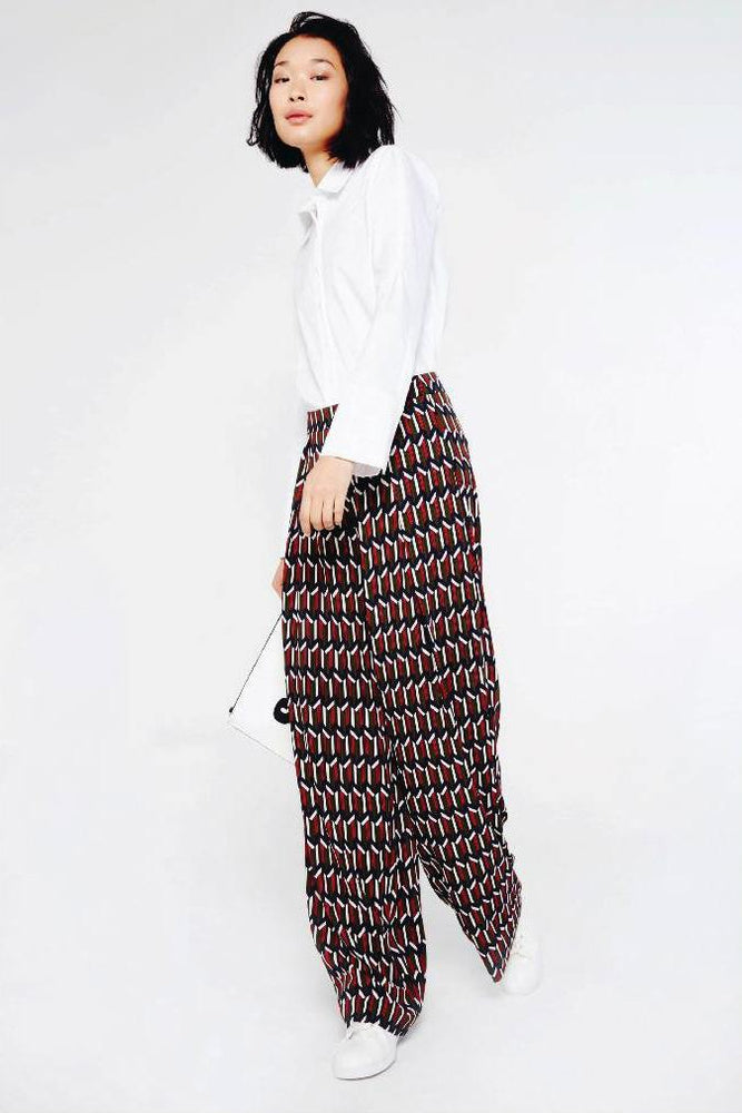 CLOTHING - Geometric Print Palazzo Trousers