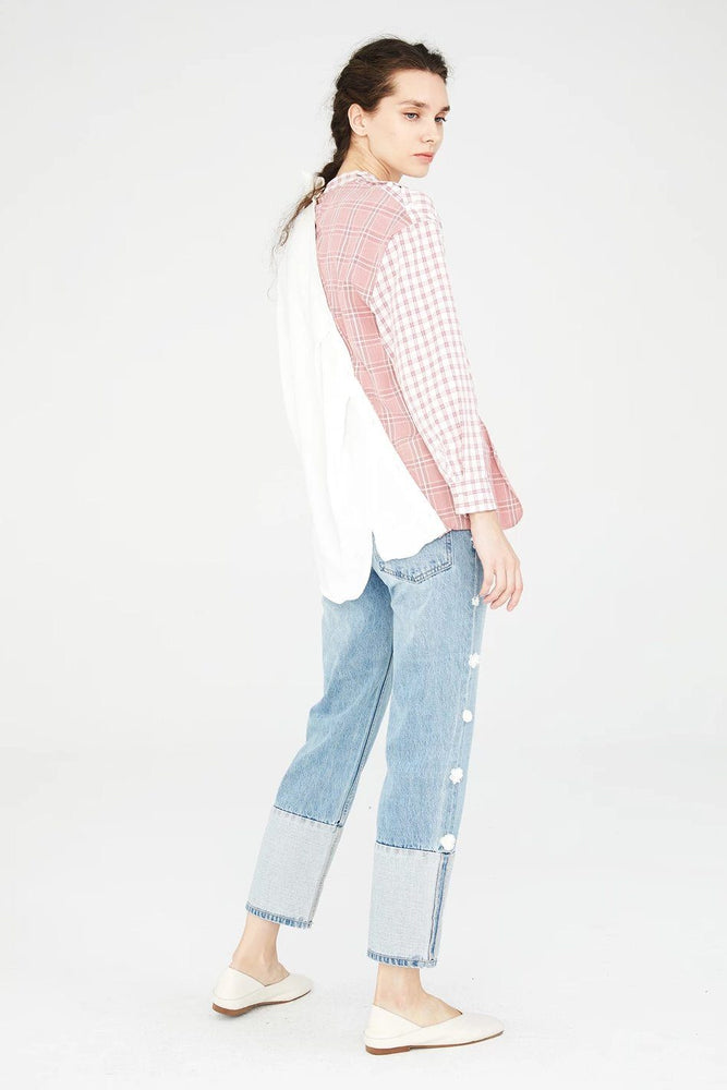 Load image into Gallery viewer, White Asymmetric Shirt With Pink Plaid Pattern
