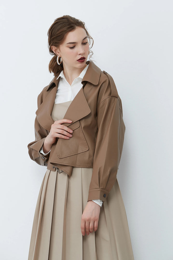 Khaki Oversized Cropped Jacket
