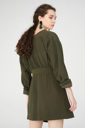 Khaki Green V-Neck Wrap Dress With Asymmetric Hem