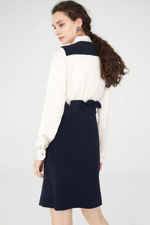 White And Navy Blue Straight Shirt Dress