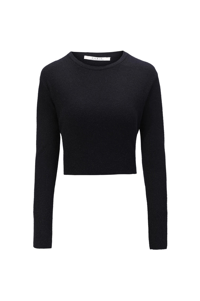 Black Assymetrical Knit Cropped Top