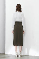Khaki Green Pencil Skirt