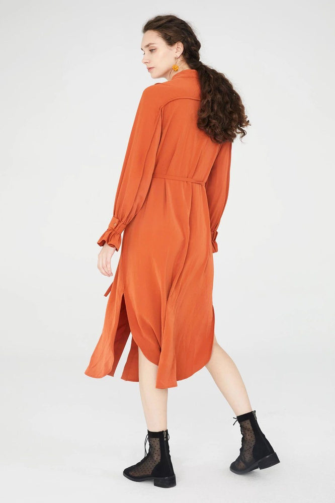 CLOTHING - Midi Shirt Dress With Ruched Cuffs