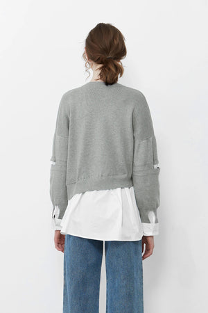 Grey Asymmetrical Cut Out Jumper