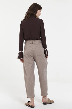 Load image into Gallery viewer, Mocha High-Waisted Trousers With Buckled Belt