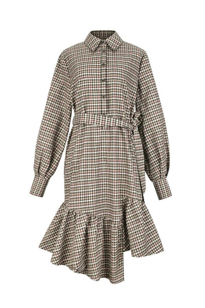 Brown Asymmetric Tartan Shirt Dress With Ruffle