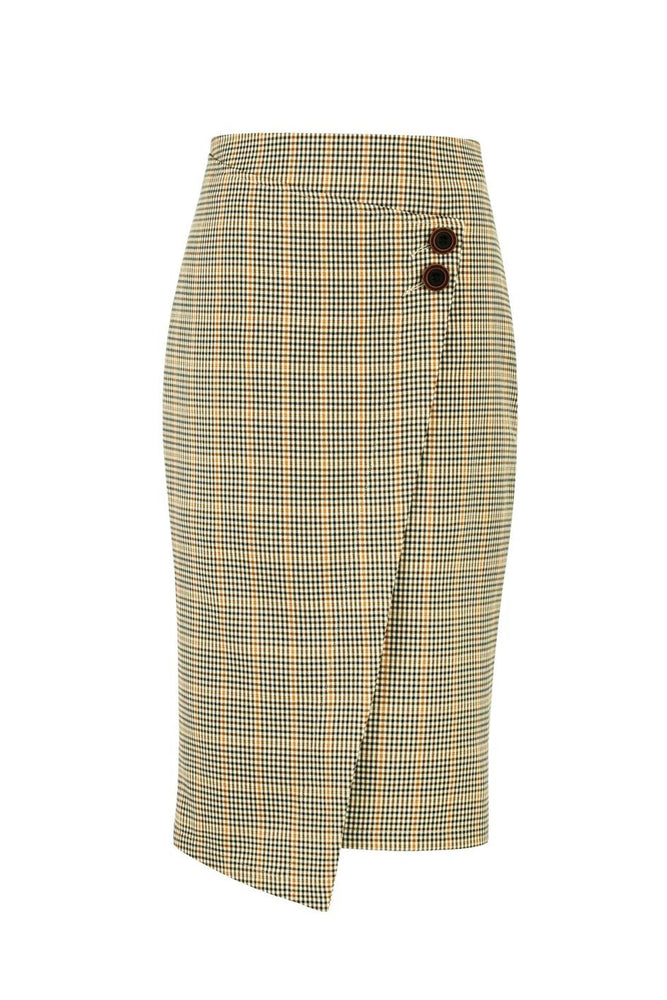 Load image into Gallery viewer, Beige Tartan Pencil Skirt With Wrap Detail