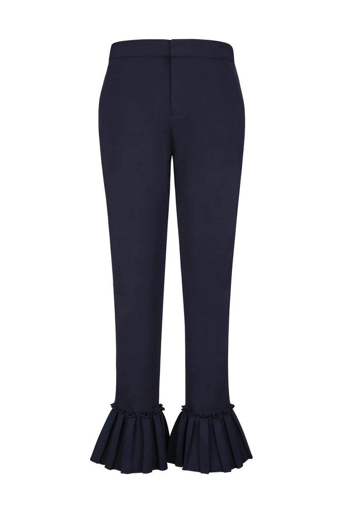 Navy Blue Chino Trousers With Pleated Cuffs
