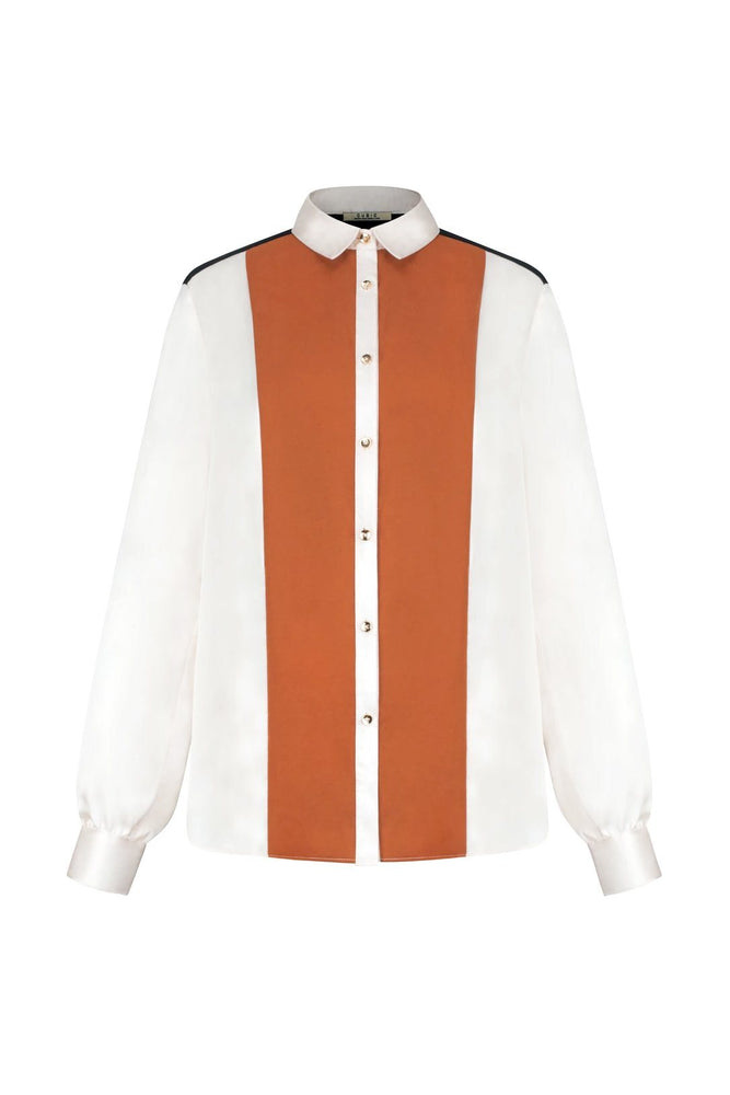 Off-White Button Down Shirt With Orange Front Panels