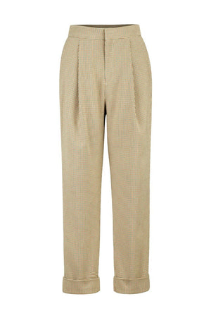 Beige Tartan High Waisted Trousers With Pleats