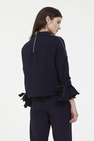 Navy Longsleeve With Mock Neck Collar
