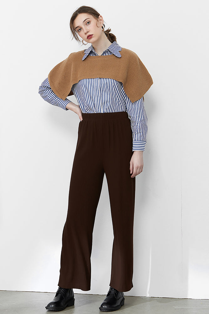Coffee Straight Leg Trousers