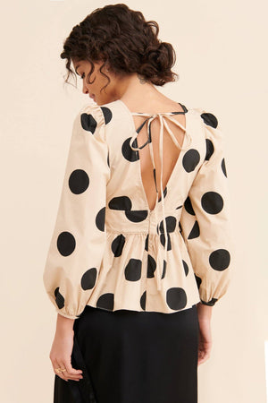 Load image into Gallery viewer, Dot Print Peplum Top