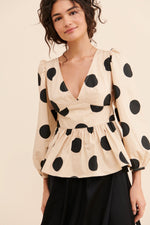 Dot Print Peplum Top
