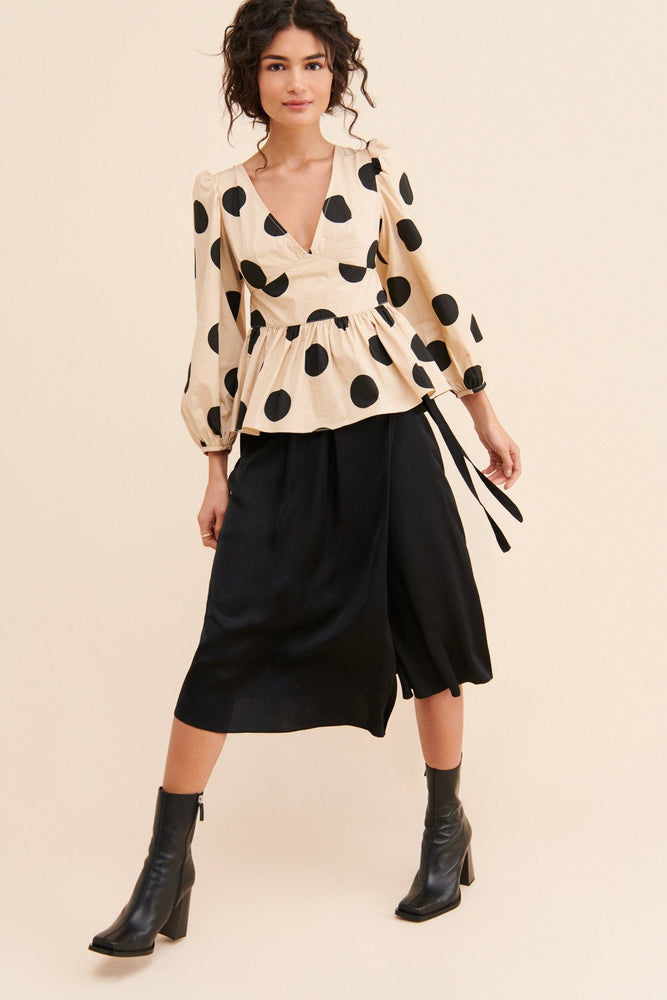 CLOTHING - Dot Print Peplum Top