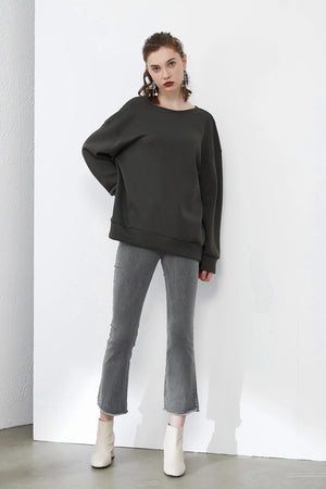 Open Back Chain Sweatshirt in Dark Grey