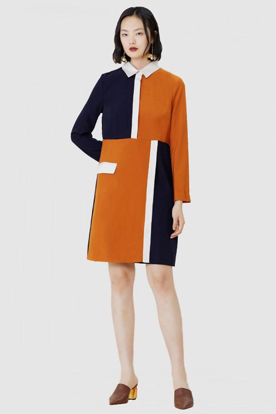 Colour Block Shirt Dress With Orange Navy And Cream Pannels